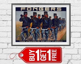 Fongers currently used exclusively by us army, Fongers thans uitsluitend bij ons leger in gebruik vintage poster advertising Bicycles (2047)