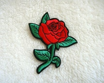 Red Rose DIY Applique Iron on Patch
