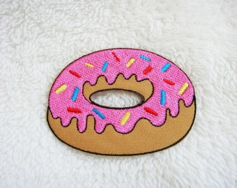 Pink Strawberry Doughnut Donut DIY Applique Iron on Patch
