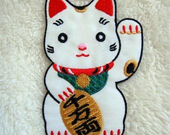 Japan Lucky Cat Maneki Neko DIY Applique Iron on Patch