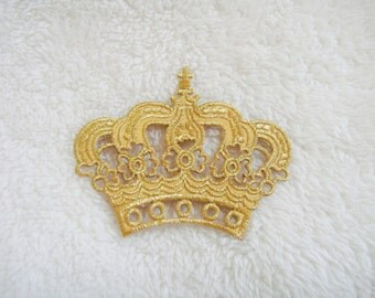 Gold Crown Applique Iron on Patch