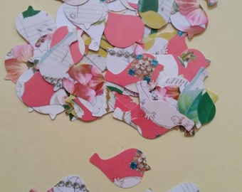 50 Vintage flowers doves confetti.mixed flowers.scrapbooking/ cardmaking /wedding table confetti