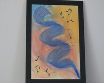 Where the Music Moves Me, abstract pastel drawing, framed