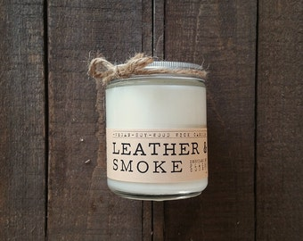 Leather & Smoke Wood Wick Candle - Vegan soy wax candle, Leather Candle, Wood Wick Candle, Smoke candle, Man Candle, Scented Candle