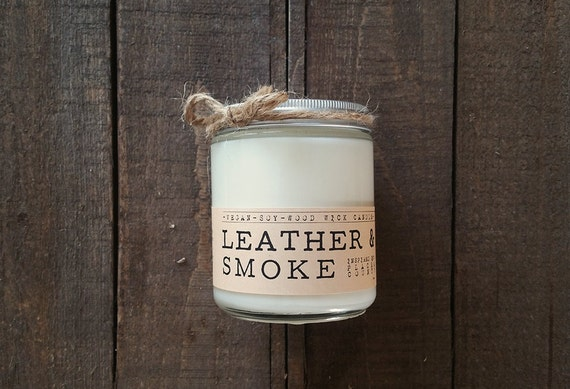 Leather & Smoke Wood Wick Candle - Vegan soy wax, kosher certified