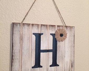 Personalized Rustic initial sign