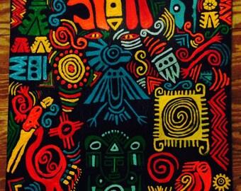 Mayan Inspired original painting symbols acrylic indian painting chief painting