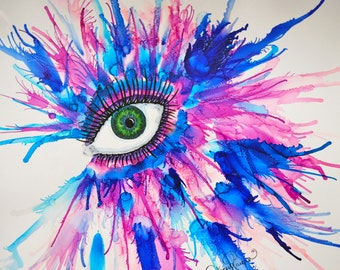 Alcohol Ink Eye on Yupo Paper