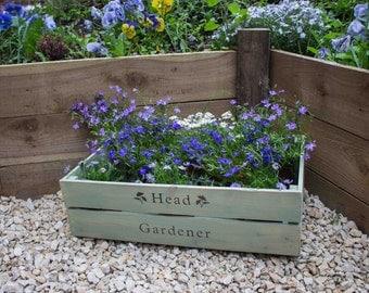 Apple crate, wooden crate, fruit crate, Head Gardener crate, rustic crate, rustic storage, bushel box, apple crate, crate