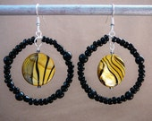 Fun Beaded Hoop Earrings with Shell Accent (Black and Yellow)