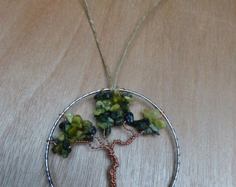Tree of Life Rearview Pendant - Olive Green_1