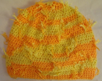 "Orange and Yellow ""Sunshine"" Crochet Baby Beanie"