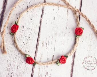 newborn headband, baby tieback, red roses, braided headband, hippy tieback, photography prop, handmade headband, plaited, twine