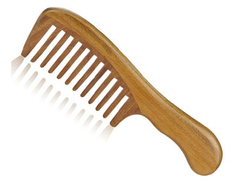 """Natural Green Sandalwood Massage Comb Wide Tooth Wooden Comb with Handle 7"""" (18cm)"""