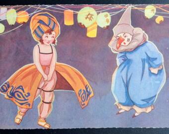 Clown with Girl Postcard Art Deco Postcard Artist Signed R.S. Italian Postcard Pochoir Postcard
