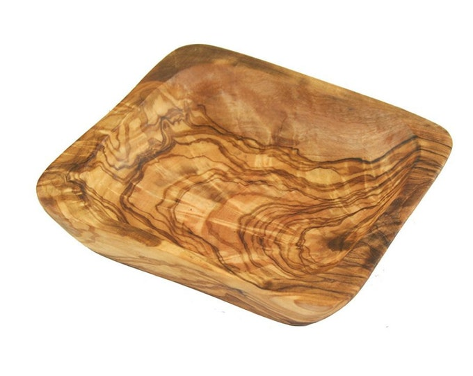 Bowl / dish olive wood square ca 13 cm unique wood