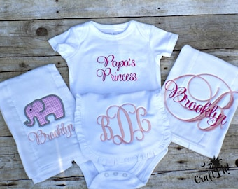Baby Shower Gift for Girls, Bib, Onesie, Two Burp Clothes, Embroidered, Monogrammed