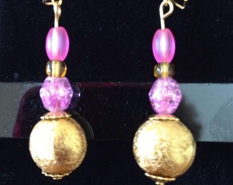Gold and pink earings