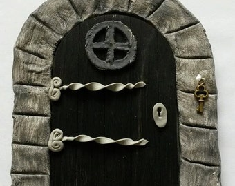 Fairy Door, Gothic door, fairy house, fairy accessories, hobbit door, elf door, gnome door, boys fairy door, middle earth, black fairy door