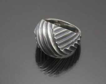 Modernist Retro Style Antiqued Sterling Silver Dome Ring