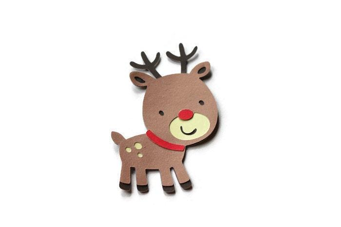 5 Reindeer Die Cuts Christmas Die Cut Paper Reindeer Cut