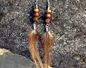 Feather Earrings - Wood and Feather dangle earrings - Tribal - Hippie - Festival - Boho - Earthtones - Brown feather earrings