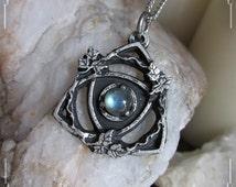 Celtic triquetra pendant, celtic knot pendant, with labradorite, amethyst or malachite