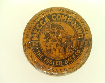 Early 1900s Mecca Compound The Foster-Dack Co Advertising Lithograph Tin Medical Ointment