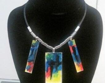 "Masterpiece Collection: ""Homage to Franz Kline"" Triptych necklace"