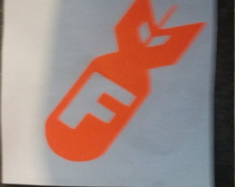 F  BOMB hard hat sticker