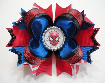 "Spider-Man Boutique Stacked Hair Bow Red/Blue/Black W 5.0"" x L 4.5"" x H 2.0"""