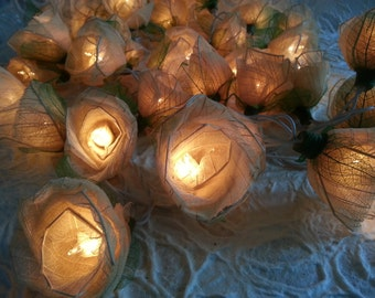 White  Romantic Rose Flower string lights For Wedding , Party,Valentine'Days (20 bulbs)