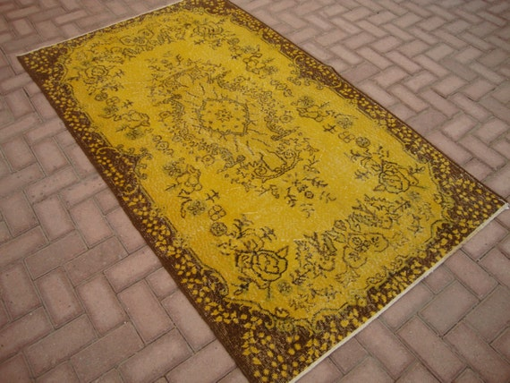 Vintage YELLOW Overdyed Rug Turkish Teppich Home by FAMILYRUG
