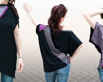 tunic kimono sleeve, tunic, asymmetric model Seigaiha