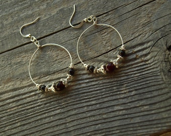Natural Garnet Hoop Earrings