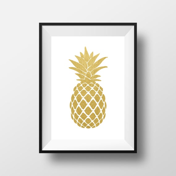 items similar to pineapple wall art gold pineapple print. Black Bedroom Furniture Sets. Home Design Ideas