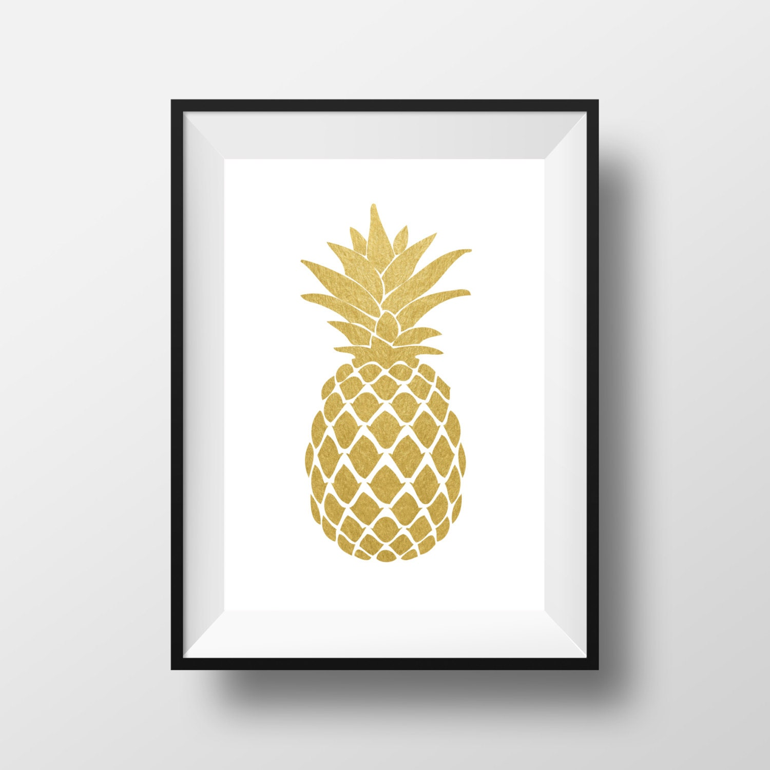 Pineapple wall art gold pineapple print gold print gold for Gold wall art