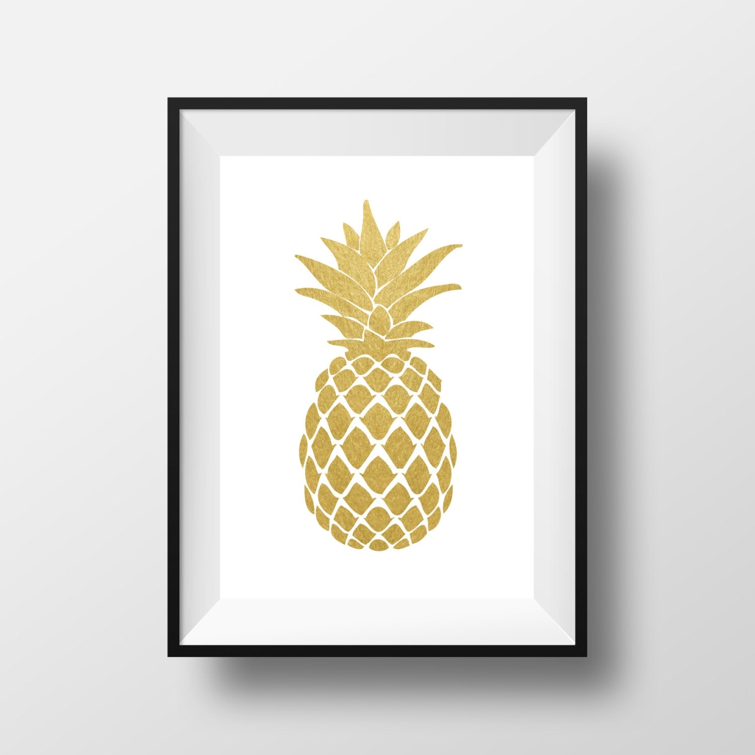 Pineapple wall art gold pineapple print gold print gold for Decor outline