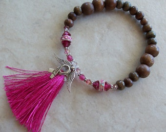 Breast Cancer Awareness Pink Tassel Bracelet Stretchy Wood Czech Crystal
