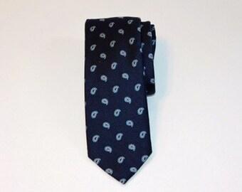 Slim Blue Paisley Tie