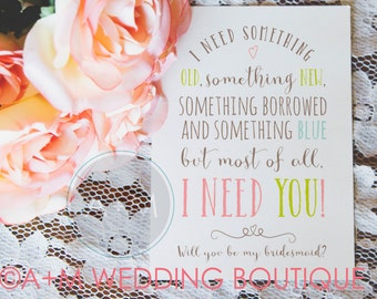 Will You Be My Bridesmaid, Cards, Maid Of Honour, Wedding Party, (Set of 2), 5x7 Sarah Jane