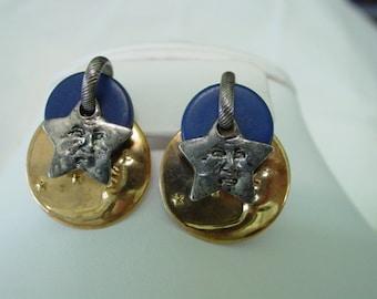 Man in the Moon Star Earrings