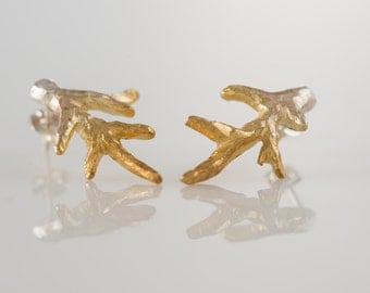 Sterling Silver (925) and 24K Gold Plated branch stud earrings