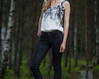 Silk top with branch print
