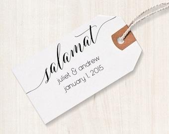 Salamat Rubber Stamp - Salamat Favor Stamp, DIY Wedding Stamp, Filipino Wedding Stamp, Salamat Favor Stamp, Filipino Wedding Favor Stamp