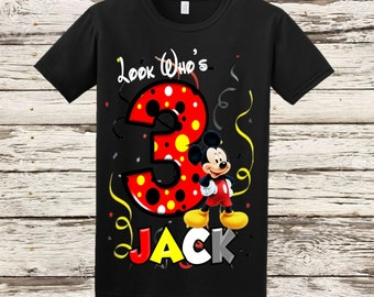 Mickey Mouse Birthday Shirt - Black Shirt Available
