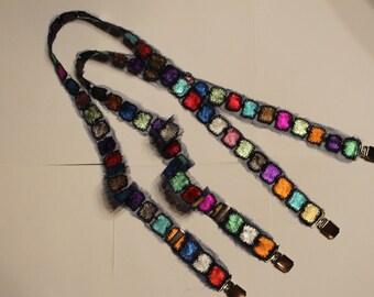Women's leather suspenders handmade.