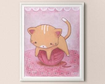 Kitty 8x10 Print - Kitty Playing with Yarn - Nursery Wall Art Decor - Pink Peach - Art Print