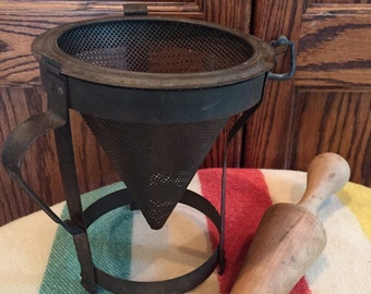 Vintage Berry Sieve with wooden pestle