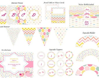 Pink Birthday Party Pack - Party Supplies - Instant Download